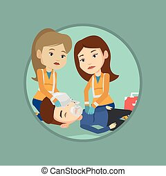 Paramedics doing cardiopulmonary resuscitation - Caucasian...