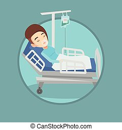 Patient lying in hospital bed with oxygen mask. - Woman...