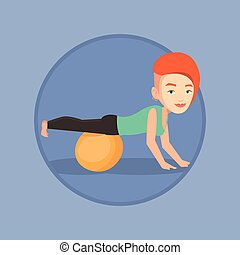 Young woman exercising with fitball. - Woman exercising with...