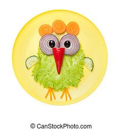 placa, vegetales, hecho, pollo, divertido