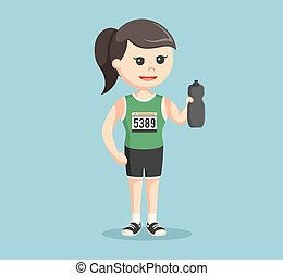 female marathon runner holding water bottle