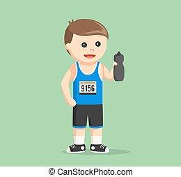marathon runner holding water bottle