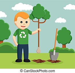 man environmental activist planting tree
