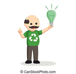 man environmental activist with green bulb