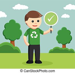 man environmental activist with checklist sign