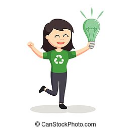 woman environmental activist with green bulb