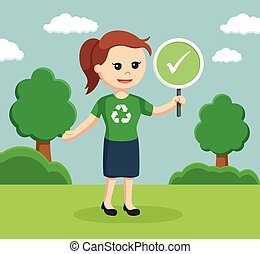 woman environmental activist with checklist sign