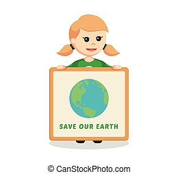 woman environmental activist with save earth board