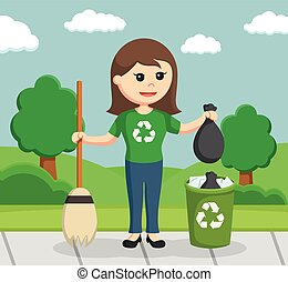 woman environmental activist cleaning park