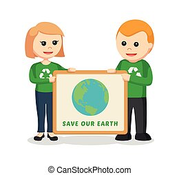 couple environmental activist with save earth board