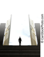 Heavens Gates And Silhouette - A concept depicting a person...