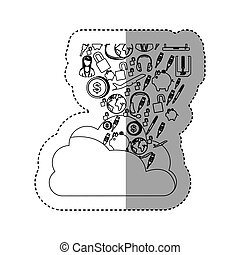sticker contour cloud in cumulus shape with set collection...