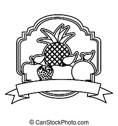 silhouette decorative heraldic frame with still life fruits