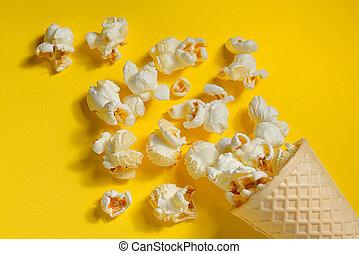 Popcorn in ice cream cones