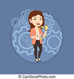 Synchronization between smartwatch and smartphone. - Woman...