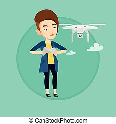 Woman flying drone vector illustration. - Young caucasian...