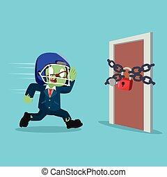 zombie businessman running to a door