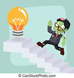 zombie businessman running on stairs