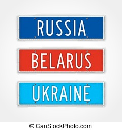 The Slavs car signs - Set of signboards for the three...