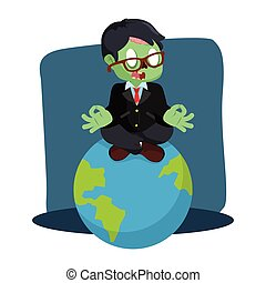 zombie businessman meditating on earth