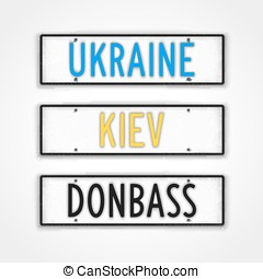 The Ukraine style car signs - Set of stylized signboards in...