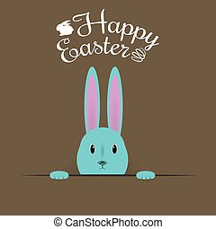 Beautiful Easter Hare on brown background. Vector Illustration