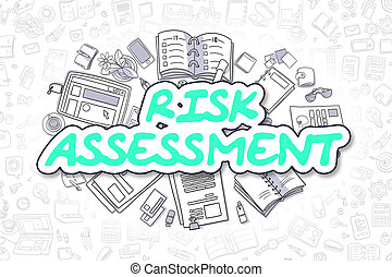 Risk Assessment - Cartoon Green Word. Business Concept. -...