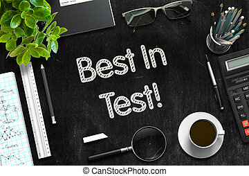 Black Chalkboard with Best In Test Concept. 3D Rendering. -...