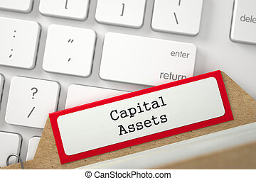Card Index with Capital Assets. 3D. - Red Archive Bookmarks...