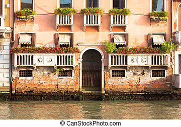 300 years old venetian palace facade from Canal Grande -...