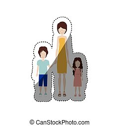people woman with her children icon