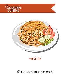 Arishta noodle Caucasian cuisine vector flat icon - Arishta...