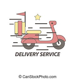 Express delivery food service scooter vector icon - Express...