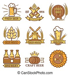 Beer vector icons for brewery bar pub or product labels -...