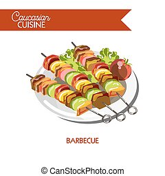 Barbecue meat shashlik Caucasian cuisine vector flat icon -...