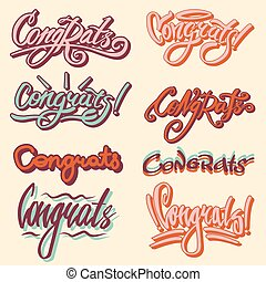 Congrats text writing or vector congratulation lettering -...
