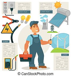 Electrician profession infographics vector poster template -...