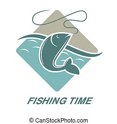 Fishing time icon of fish catch vector template - Fishing...