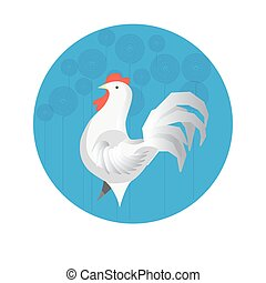 Chinese zodiac sign Rooster vector horoscope icon or symbol