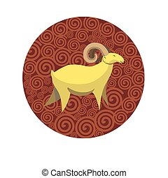 Chinese zodiac sign Goat vector horoscope icon or symbol