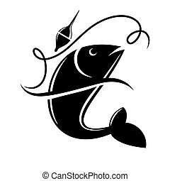 Fishing icon of fish catch on hook vector template - Fishing...