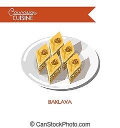 Baklava pastry dessert Caucasian cuisine vector flat icon -...