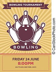 Bowling tournament or contest vector poster template -...