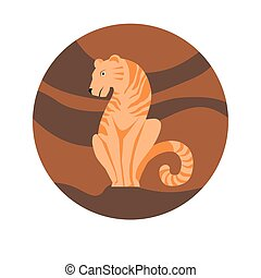 Chinese zodiac sign Tiger vector horoscope icon or symbol