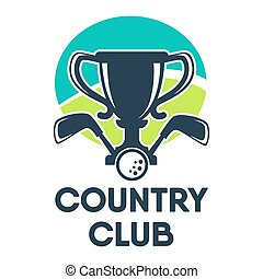 Golf country club or tournament vector icon - Golf country...