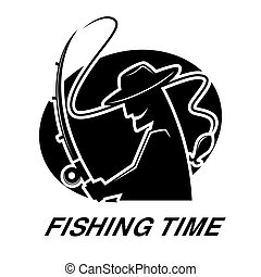 Fishing club icon of fisherman and fish catch vector...
