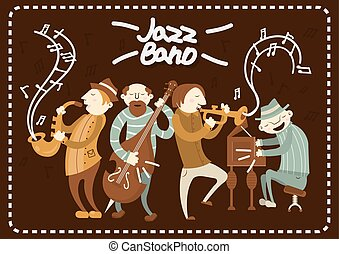 Jazz band playing on saxophones and piano music vector poster