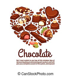Chocolate heart vector poster template of candy desserts -...
