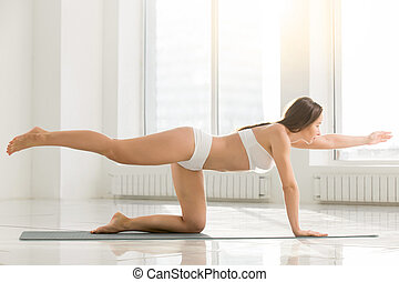 Young attractive woman in Bird dog pose, white color...