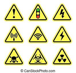 Vector warning, signal symbol and radiation sign set